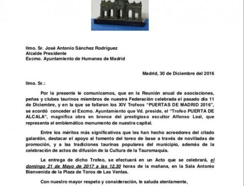 """El Ayuntamiento de Humanes de Madrid recibirá el Trofeo """"Puerta de Alcalá"""" el próximo 21 de mayo"""