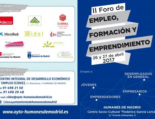 26 y 27 de abril: II Foro de Empleo, Formación y Emprendimiento en Humanes de Madrid