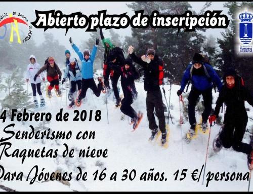"""Abierto el plazo para la actividad """"Senderismo con raquetas de nieve"""""""