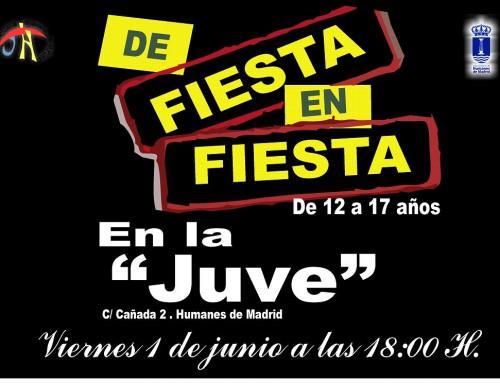 """El 1 de junio, los jóvenes de Humanes de Madrid estarán """"De fiesta en fiesta"""""""