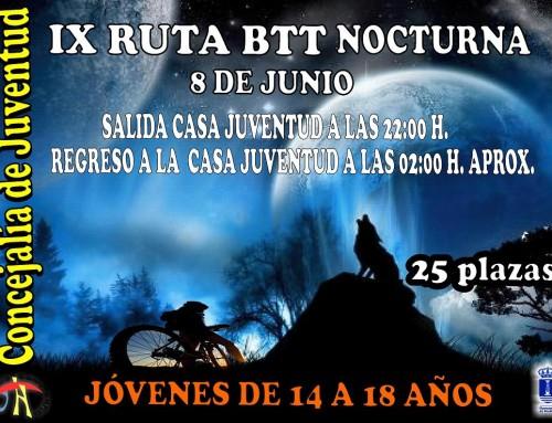 8 de junio, IX Ruta BTT Nocturna por los caminos rurales de Humanes de Madrid