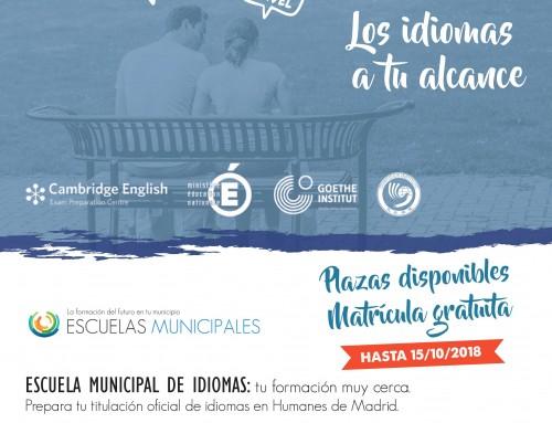 Hasta el 15 de octubre, inscripciones abiertas para la Escuela Municipal de Idiomas
