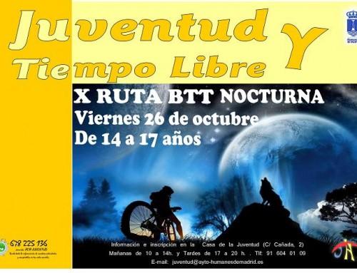 26 de octubre: Ruta BTT nocturna para los jóvenes de Humanes de Madrid