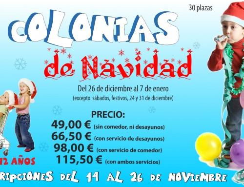 Se abre el plazo de inscripción de las Colonias de Navidad (Campamento Urbano)