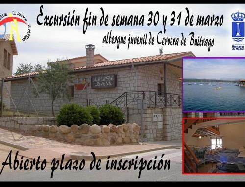 30 y 31 de marzo, excursión de fin de semana al albergue juvenil de Cervera de Buitrago