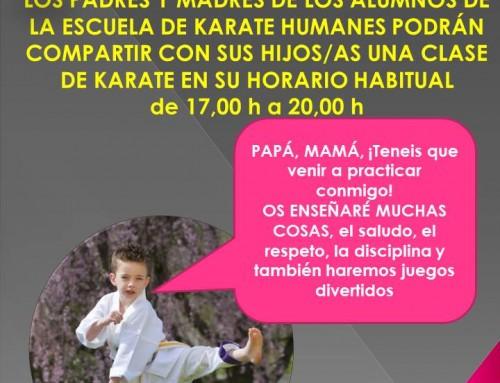 El próximo 25 de marzo, los alumnos de la Escuela de Karate Humanes harán un entrenamiento familiar con sus padres
