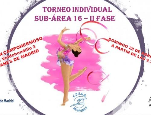 El próximo 28 de abril, Campeonato de Gimnasia Rítmica Individual Sub-Área 16 II Fase en Humanes de Madrid