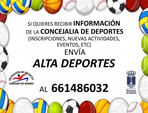 Sí estas interesado en formar parte de la actualidad deportiva de Humanes de Madrid, envía ALTA DEPORTES en el 661486032