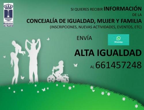 Si quieres recibir información de la Concejalía de igualdad, mujer y familia, envía un Whatsapp al 661457248