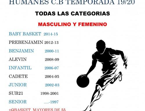 El Humanes Club Basket te anima a formar parte de la temporada 2019-2020.