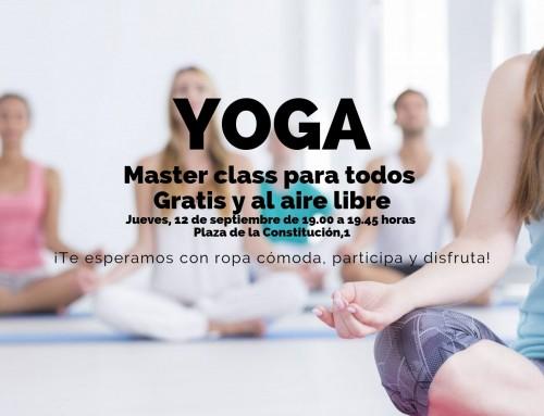 La concejalía de Deportes te anima a una master class al aire libre de Yoga gratis.