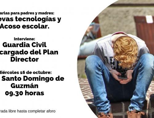 La Guardia Civil impartirá una charla sobre las nuevas tecnologías y el acoso escolar a los padres en el CEIP Santo Domingo de Guzmán.