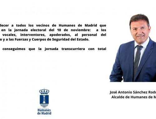 Agradecimiento del alcalde de Humanes de Madrid.