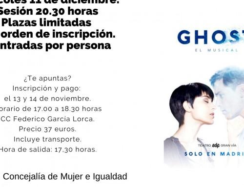 La concejalía de Mujer e Igualdad organiza una salida en grupo para ver el musical Ghost en el Teatro EDP de Gran Vía de Madrid.