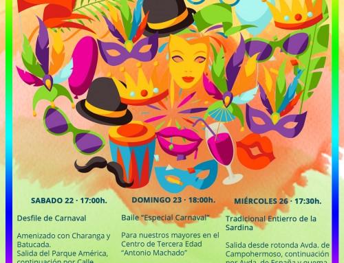 Festejos organiza el Carnaval 2020 con desfile, charanga, batucada, baile y concurso de disfraces para adultos e infantiles.