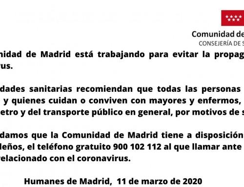 La Comunidad de Madrid aconseja a personas mayores o enfermas que eviten el transporte público por el coronavirus