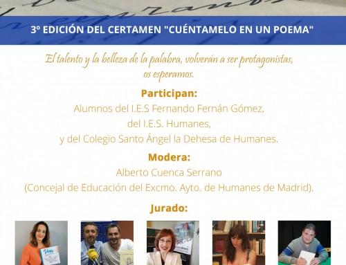Las Concejalías de Cultura y Educación convoca la 3ª edición del certamen: «Cuéntamelo en un poema».