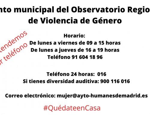 Durante el confinamiento, el Punto municipal del Observatorio Regional de Violencia atenderá por teléfono.