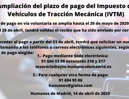 Ampliación del plazo de pago del impuesto de Vehículos de Tracción Mecánica (IVTM)