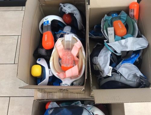 Vecinos de Humanes de Madrid donan máscaras de buceo que servirán como respiradores a pacientes con coronavirus.