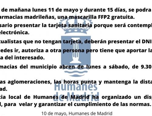 La Comunidad de Madrid entregará mascarillas gratis a través de las farmacias madrileñas.