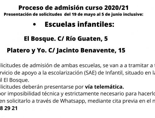 Proceso de admisión curso 2020/21 de las escuelas infantiles