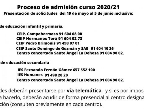 Proceso de admisión curso 2020/21: educación infantil, primaria y secundaria.