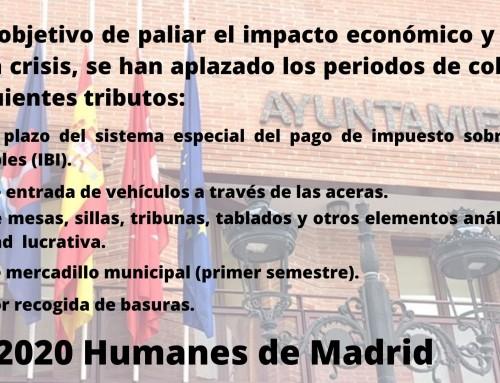 El ayuntamiento de Humanes de Madrid aplaza el pago de impuestos durante el estado de alarma.