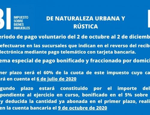 Impuesto de Bienes e Inmuebles de naturaleza urbana y rústica.