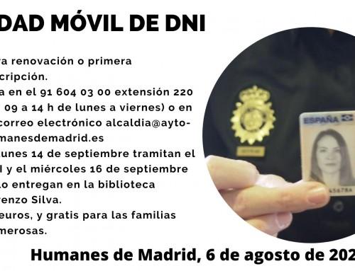 Abierto el plazo para renovar el DNI en Humanes de Madrid.