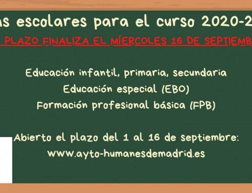 El 16 de septiembre finaliza el plazo para solicitar una beca para libros de texto y material escolar.