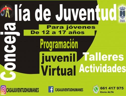 """La Concejalía de Juventud pone en marcha para jóvenes entre 12 y 18 años, el programa online gratuito """"La JuveVirtual»."""