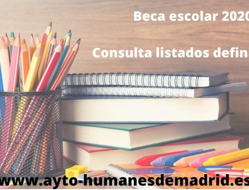 La Concejalía de Educación publica los listados definitivos de las becas escolares de Educación Infantil, Primaria, Secundaria, EBO y FPB.