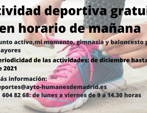 Actividades deportivas gratuitas con grupos reducidos en horario de mañana.