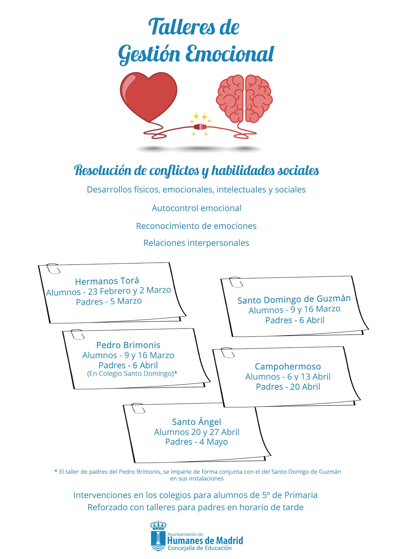 """Continúan los Talleres de """"Gestión emocional"""" para alumnos y padres, en los colegios de Humanes de Madrid"""
