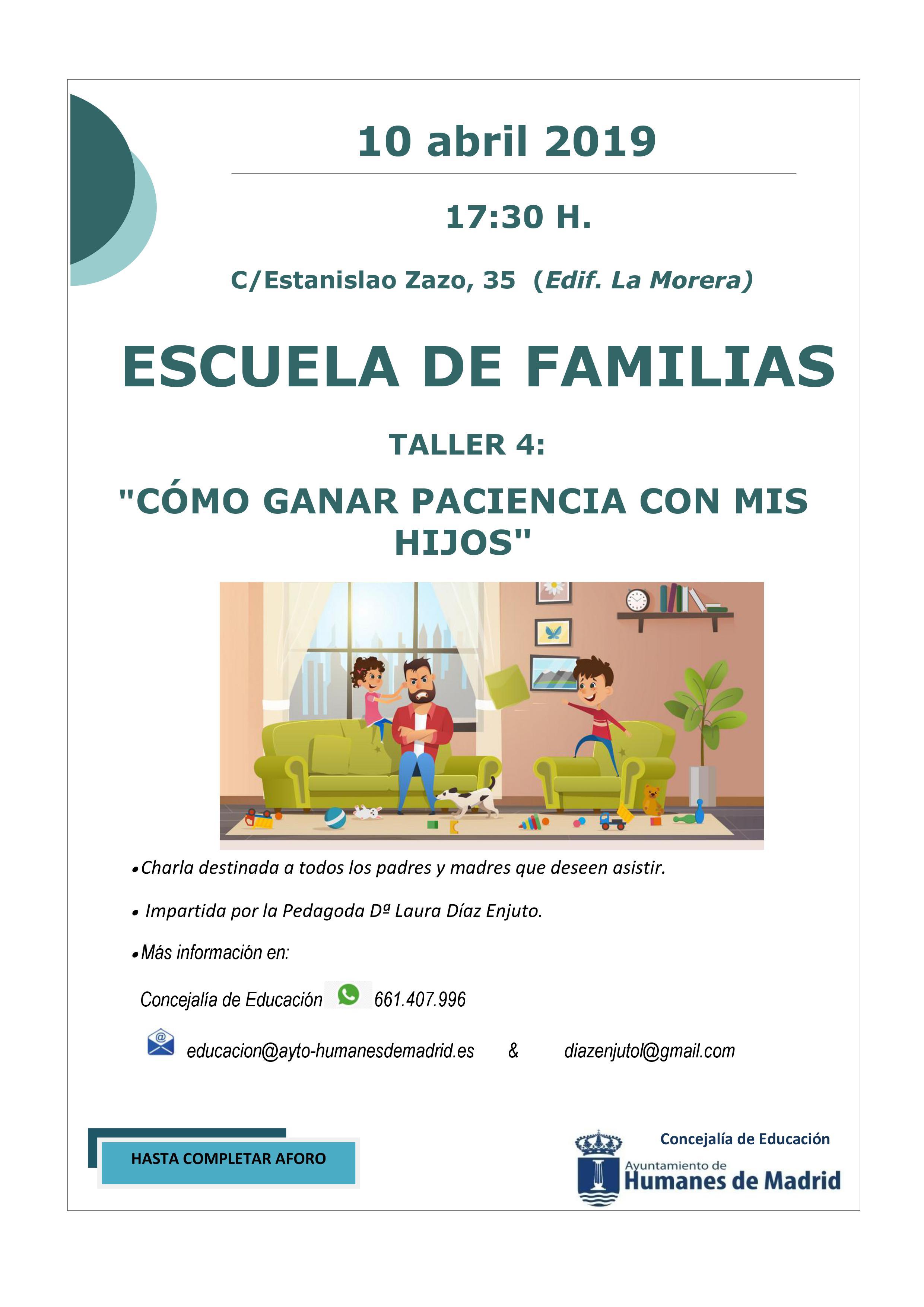 El 10 de abril se impartirá el cuarto taller de la nueva «Escuela de Familias»: «Cómo ganar paciencia con mis hijos»