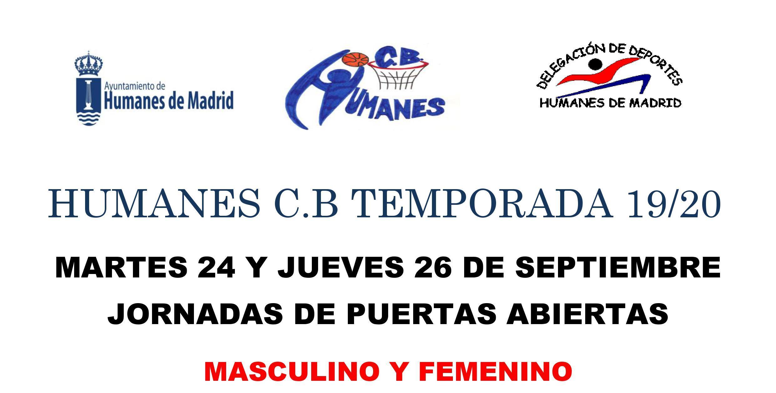 Jornada de puertas abiertas en el Club de baloncesto de Humanes en categoría femenino y masculino.