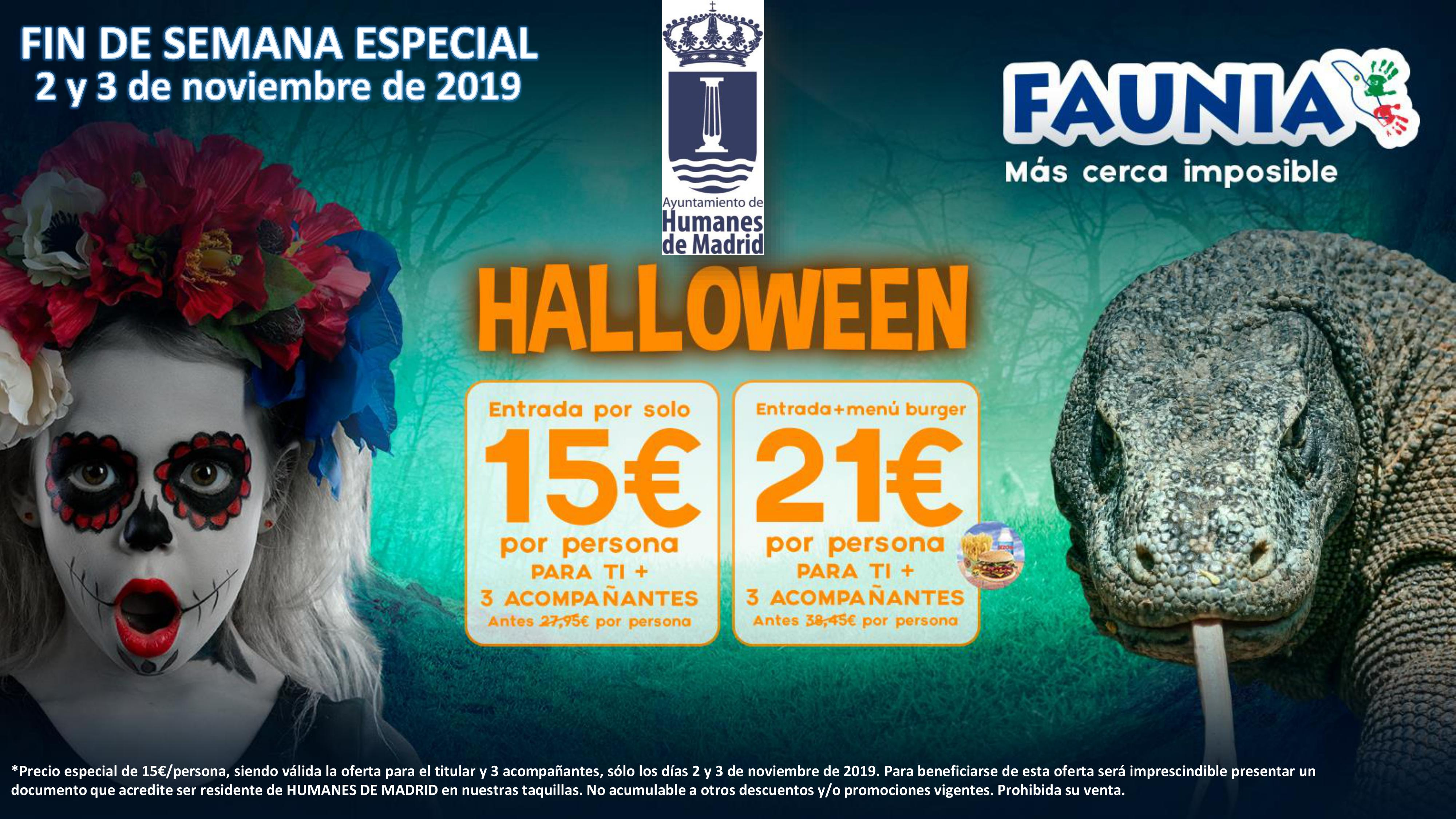 Si eres vecino de Humanes de Madrid celebra Halloween en Faunia con descuentos especiales.