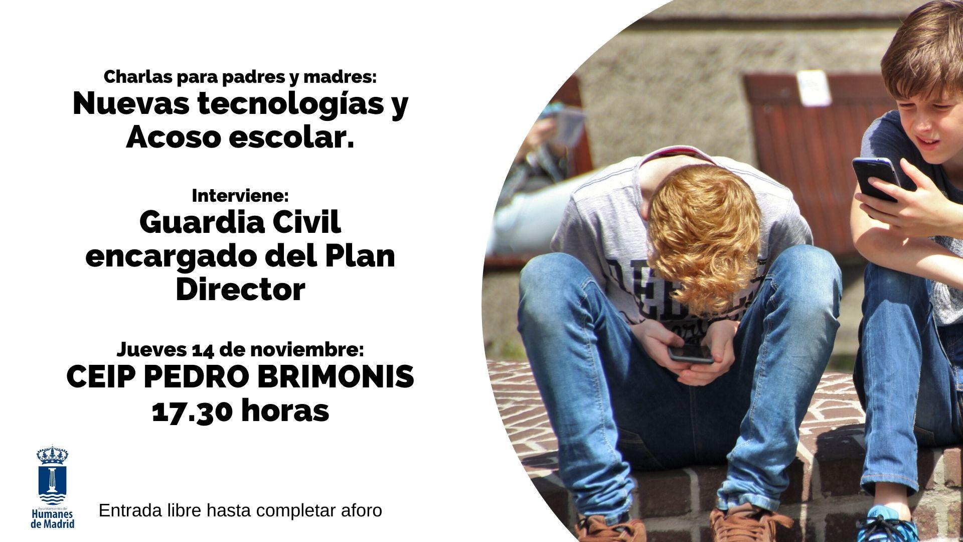 La Guardia Civil impartirá una charla sobre las nuevas tecnologías y el acoso escolar a los padres en el CEIP Pedro Brimonis.