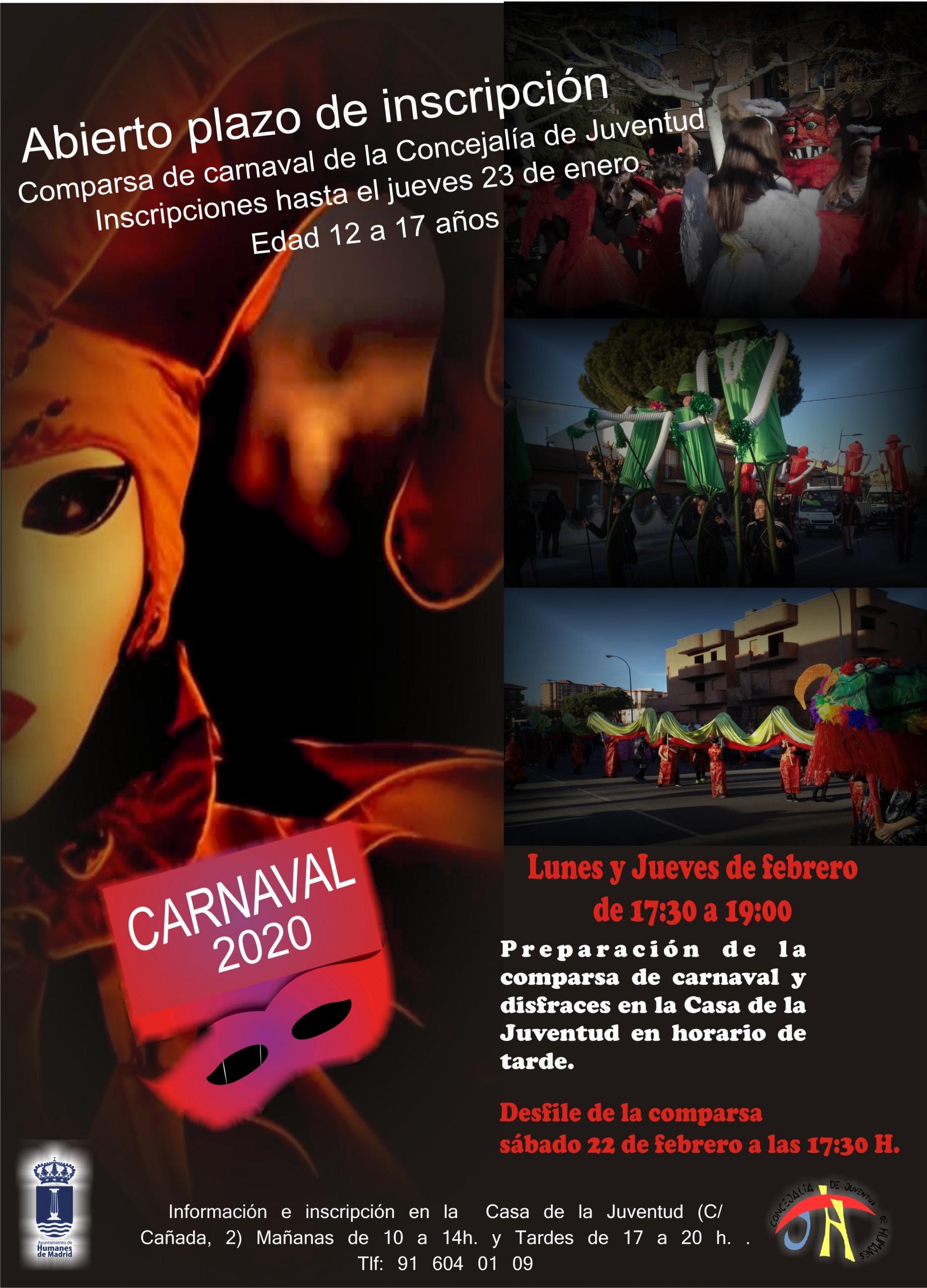 Abierto el plazo para participar en la comparsa de carnaval 2020 de la concejalía de Juventud.