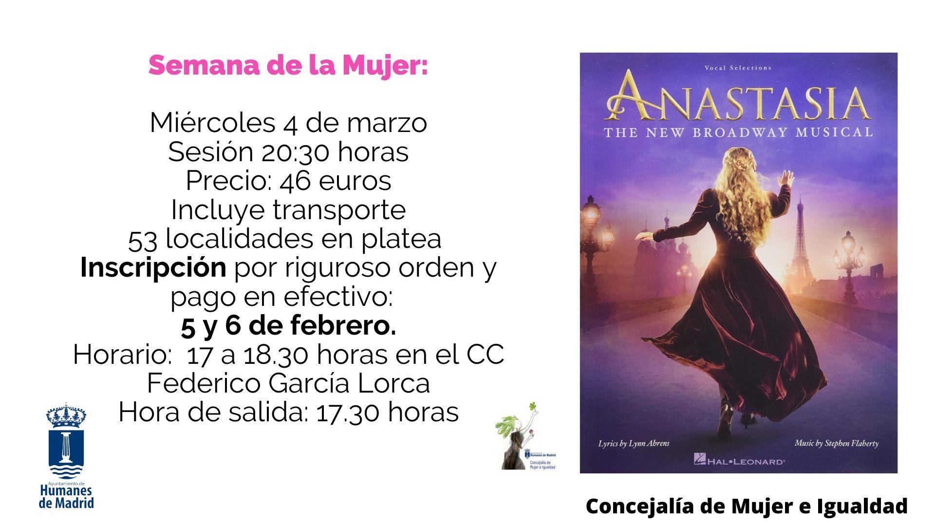 """Con motivo de la Semana de la Mujer, la concejalía organiza una salida cultural para asistir al musical """"Anastasia"""" en Madrid."""