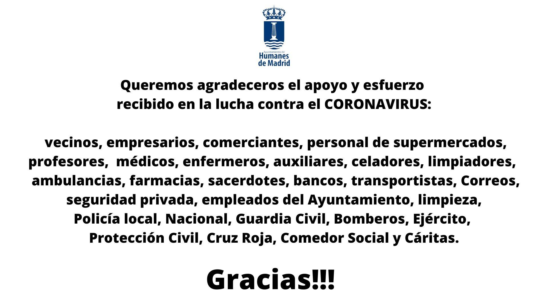 Gracias al apoyo y esfuerzo recibido en la lucha contra el Coronavirus