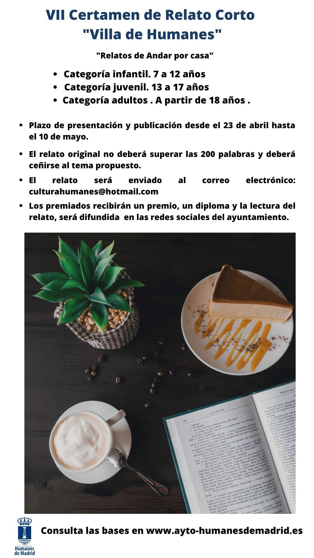"""Cultura celebra el día Internacional del Libro con el VII Certamen de Relatos Corto """"Villa de Humanes""""."""