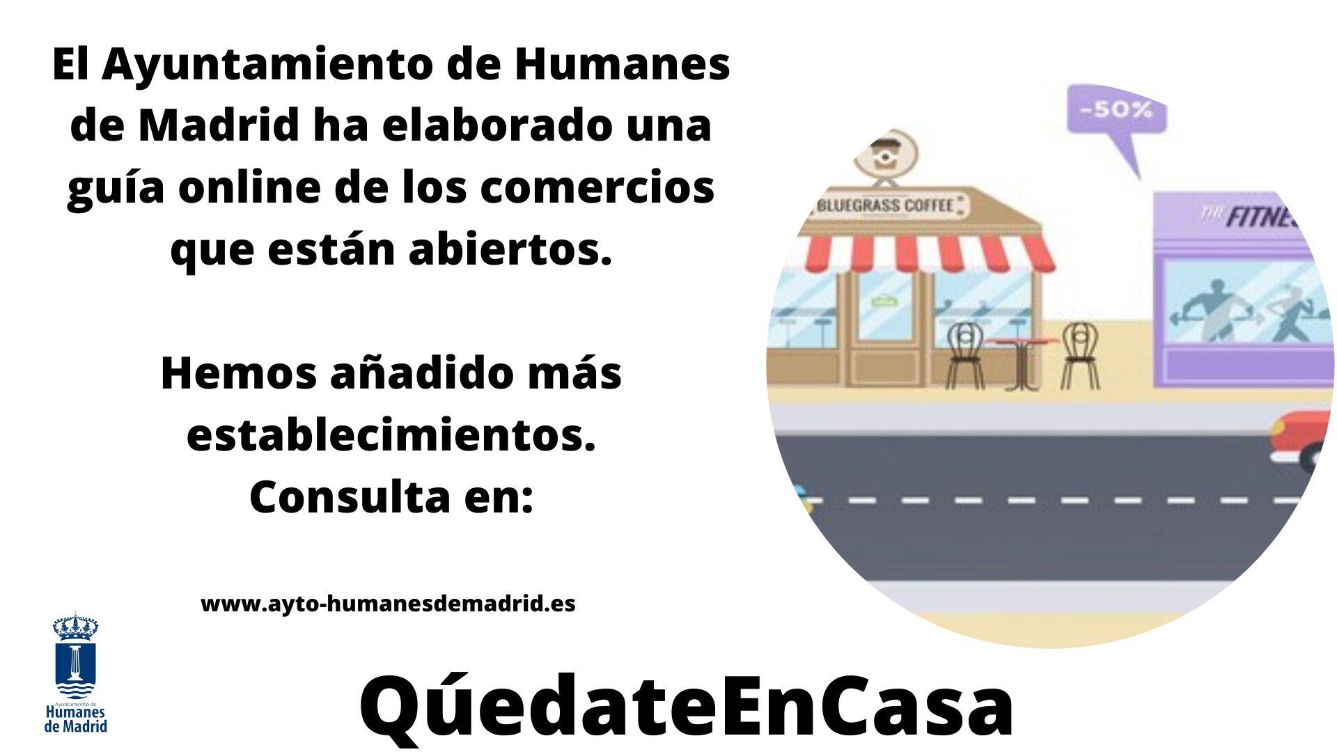 Consulta la guia online de comercios de Humanes de Madrid que abren durante el estado de alarma.