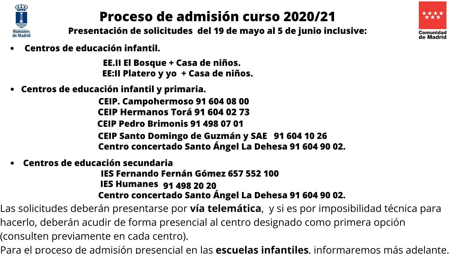 El martes 19 de mayo comienza el proceso de admisión del curso escolar 2020/2021