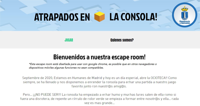 Alumnos del taller de videojuegos de Infancia diseñan un escape room virtual.