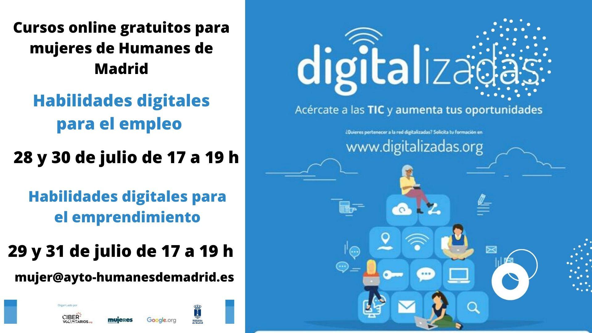 La Concejalía de Mujer e Igualdad ofrece cursos online gratuitos sobre Ciberformación Digitalizadas para el empleo y el emprendimiento.