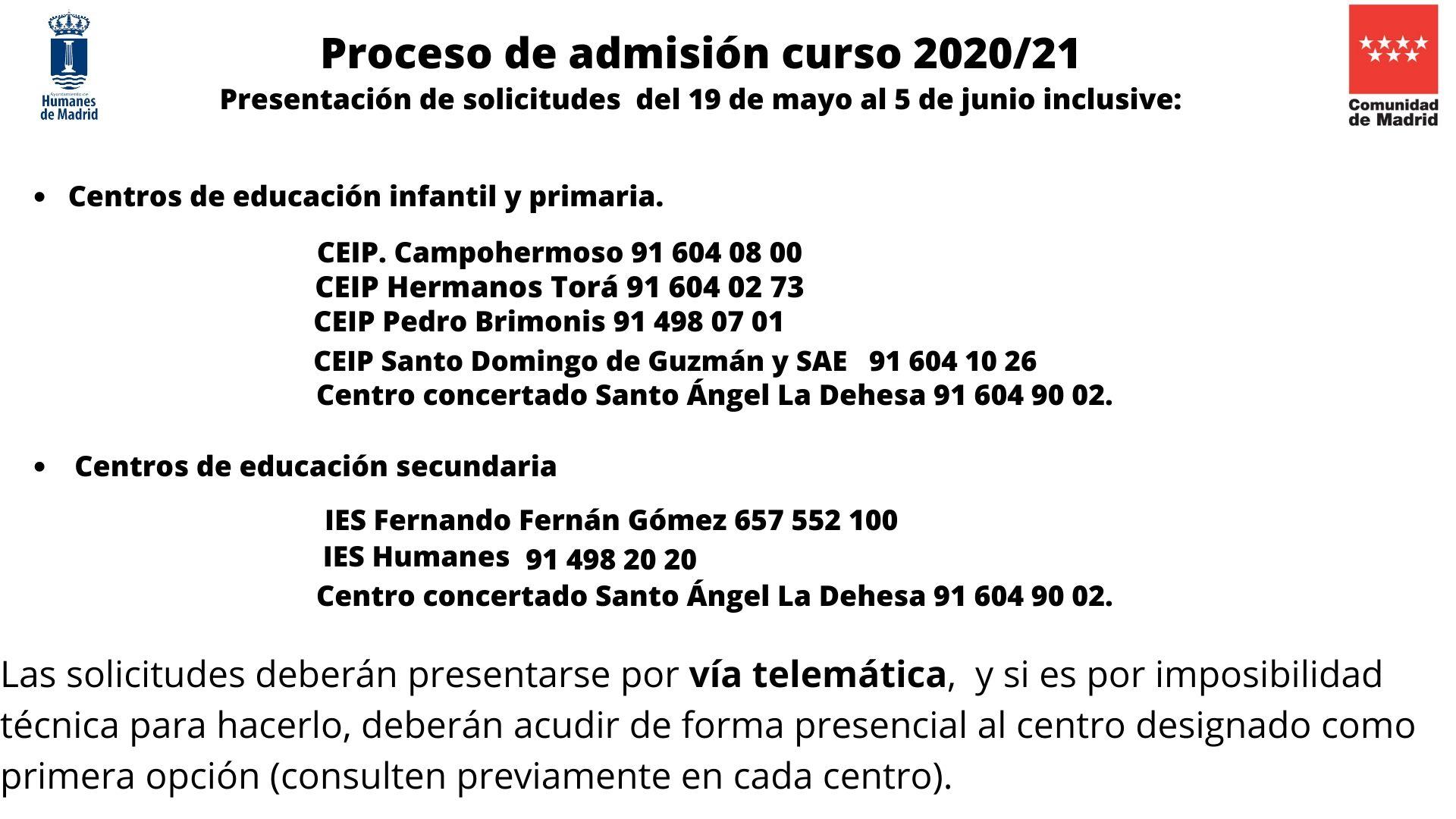 El viernes 5 de junio finaliza el proceso de admisión para solicitar una plaza escolar.