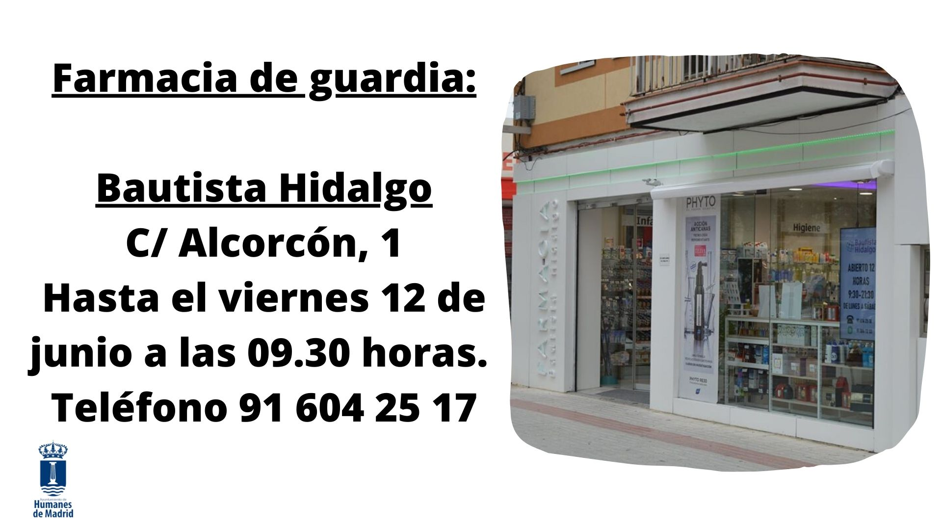 Farmacia de guardia hasta el 12 de junio