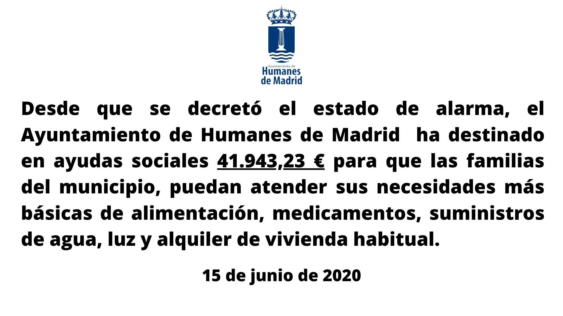 Ayudas sociales para las familias de Humanes de Madrid